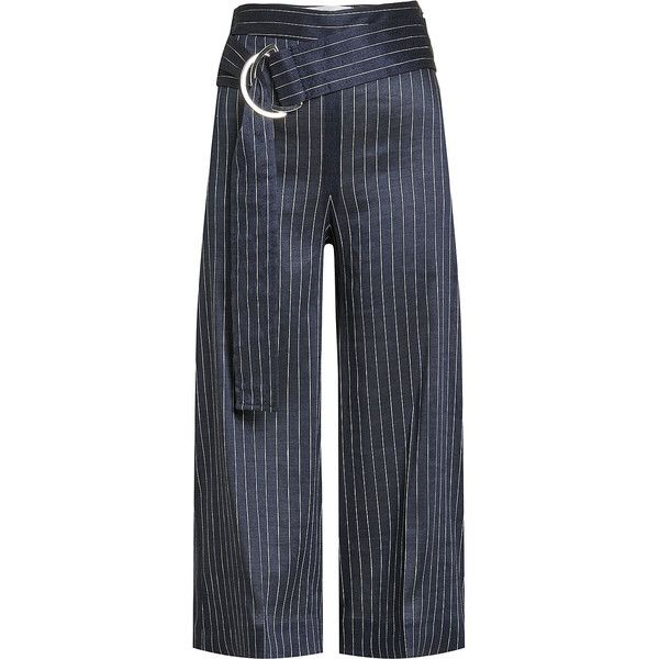 Victoria, Victoria Beckham Front-Tie Pinstripe Culottes ($365) ❤ liked on Polyvore featuring pants, capris, blue, formal pants, tie front pants, blue pants, pinstripe pants and blue striped pants