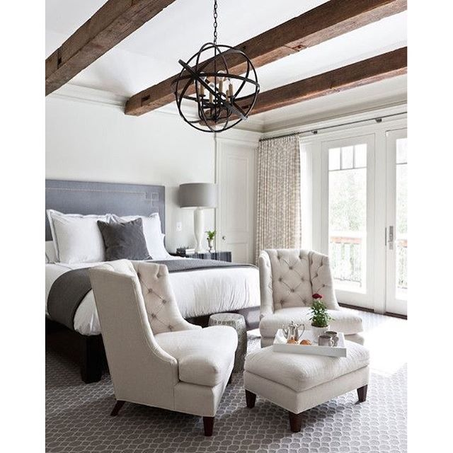 French country industrial loft urban eclectic furniture kathy kuo home farmhouse glam Urban farmhouse master bedroom