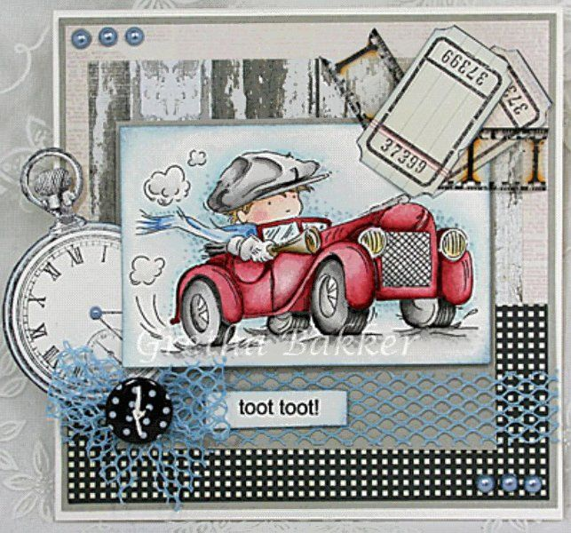 handmade greeting card ... Vintage Boy in a red roadster ... Toot Toot ... lots of collage elements ... great coloring job on the main image ... Lily of the Valley stamps