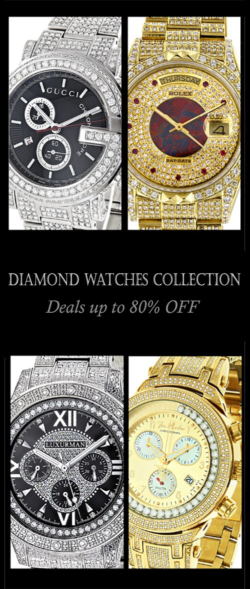 Ladies and Mens Diamond watches up to 80% off! Add elegant, contemporary style to any look with our men's diamond watches and ladies diamond watches. The ultimate in luxury, a diamond watch is sure to stand out from any other wrist watch. We offer diamond wrist watches for any budget from high end diamond watches at over $20,000 to very affordable but still top quality diamond watches for under $500 allowing anyone to own a real diamond watch.