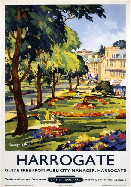Poster produced for British Railways (BR) North Eastern Region, to promote rail travel to the popular North Yorkshire spa town of Harrogate. The poster shows a picturesque view of the town, with flower gardens and a tree-lined avenue. 1953. Artwork by Kenneth Steel (1906-1970). Printed by Ben Johnson & Co. Ltd. York and London.