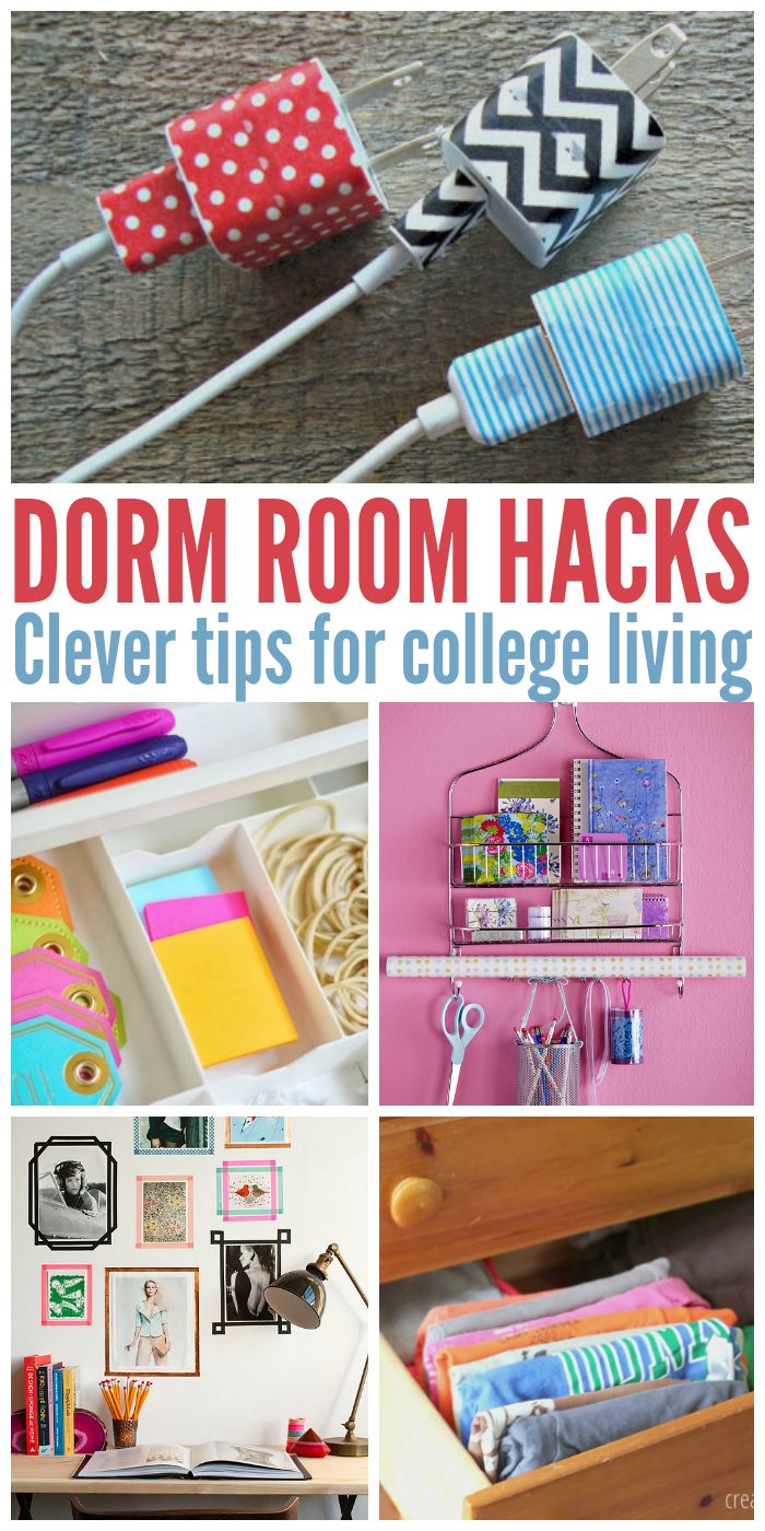 Dorm life can be hard. These clever tips, tricks and diy ideas will make it so much easier!