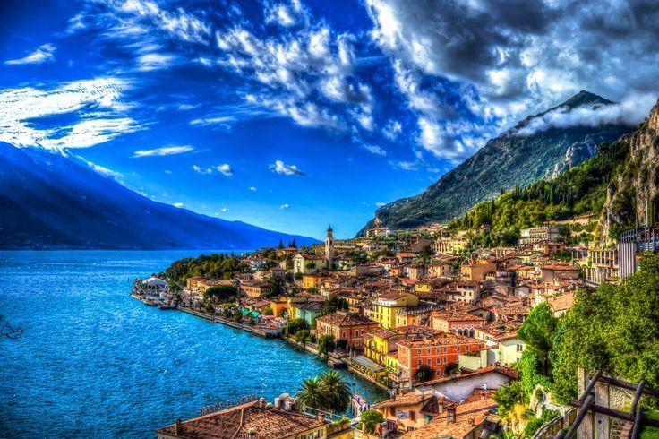 Italien Küste Haus Gebirge See Himmel HDR Wolke Sorrento Städte