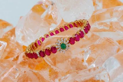 Ruby and diamond bangle. Indian jewellery fashion.