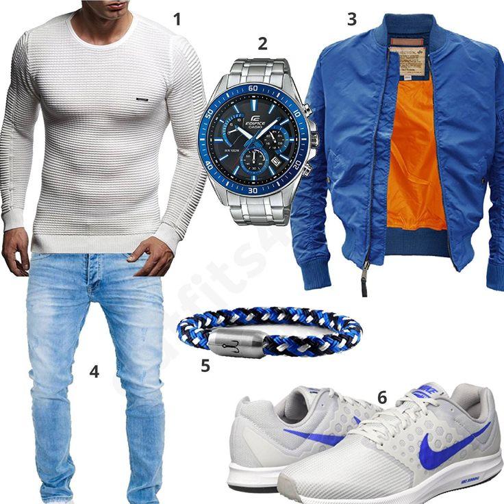 Blau-Weißes Herrenoutfit mit Pullover, Bomerjacke und Uhr (m0930) #pullover #watch #casio #armband #nike #outfit #style #herrenmode #männermode #fashion #menswear #herren #männer #mode #menstyle #mensfashion #menswear #inspiration #cloth #ootd #herrenoutfit #männeroutfit