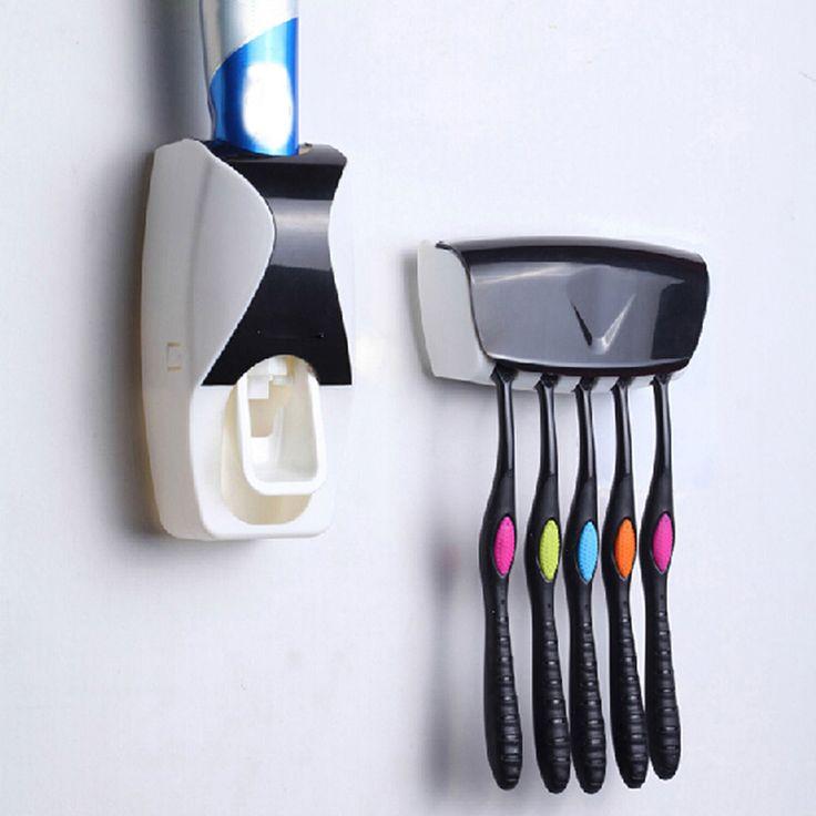 2016 1 unids Creativo Exprimidor de Pasta de dientes Automático Dispensador de Pasta de Plástico 5 cepillo de Dientes Titular de Baño Accesorios