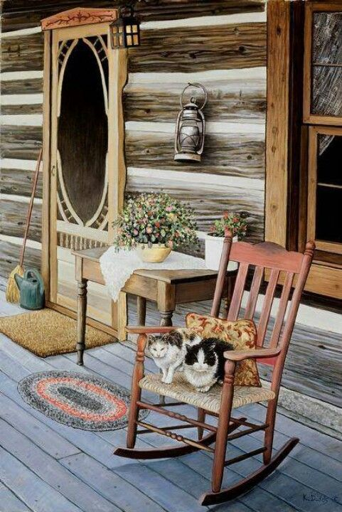 Love the screen door..........  this would be my favorite place!! unless of course there is a fireplace inside ;)