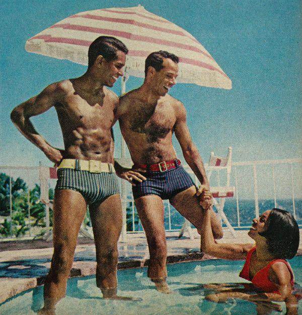 Hahahaha! <3 Vintage 1960s Men's Summer Fashion, Muscular Hunks in Swim Trunks, 1967 | Flickr - Photo Sharing!