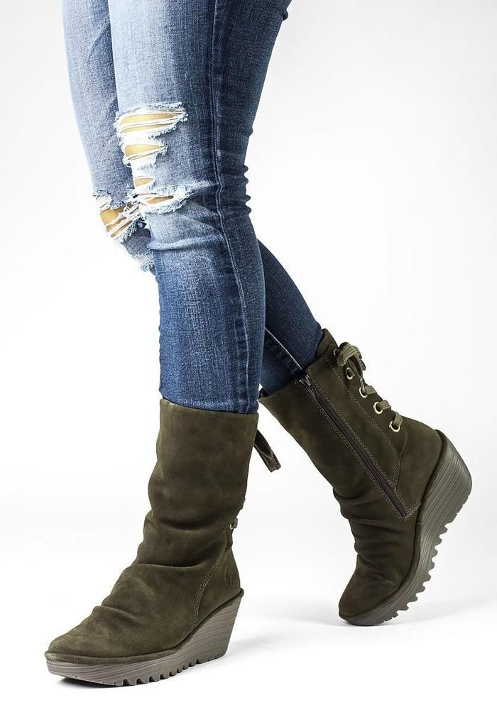 584d3cb9d56 FLY LONDON 'Yada' Mid Calf Back Lace Wedge Boot Oiled Suede 39 8.5 ...