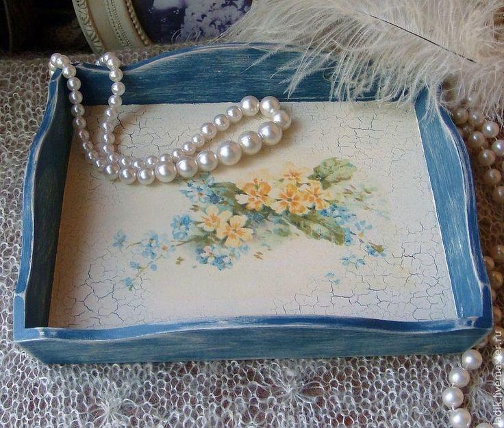 """Купить Подносик-конфетница """"Нежность"""" - голубой, незабудки, нежный подарок, для украшений, для дома и интерьера, для девочки"""