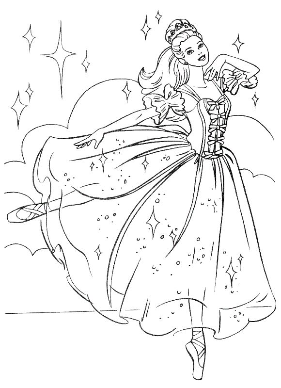Free Printable Barbie Nutcracker Coloring Page Picture Only