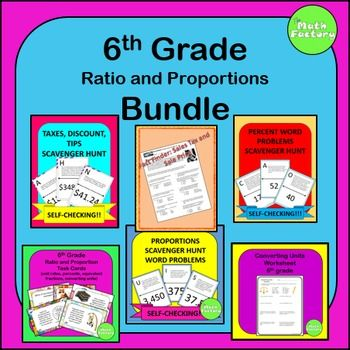 Ratios and Proportions Bundle 6th Grade: This product is a combination of 6 of my products that align to the 6.RP CCSS.  They include:Proportions Word Problems Scavenger Hunt, Percent Word Problems Scavenger Hunt, Ratio and Percentage Task Cards, Sale Price and Sales Tax Fact Finder: Bruce Lee, Converting Units Worksheet, Discounts, Taxes, and Tips Scavenger Hunt