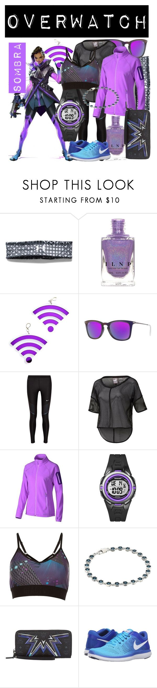 """""""Sombra from Overwatch (Athletic Wear)"""" by imanirine ❤ liked on Polyvore featuring Under Armour, Marina Fini, Ray-Ban, NIKE, Puma, Marmot, Timex, River Island, Lauren Ralph Lauren and MCM"""