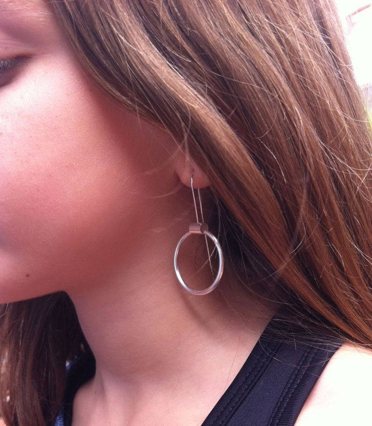 """Thanks for the kind words! ★★★★★ """"One of my absolute favorite earrings ever - and I have a lot! Just gorgeous!"""" sschlegel http://etsy.me/2tlLRVT #etsy #jewelry #earrings #silver #minimalist #earwire #girls #geometric #circle #earlobe"""