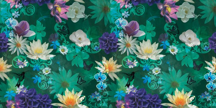 Jardim Submerso/Submerged Garden #estampa #print #pattern #color #colorful #beautiful #cores #flower #flor #jardim #garden #arabesco