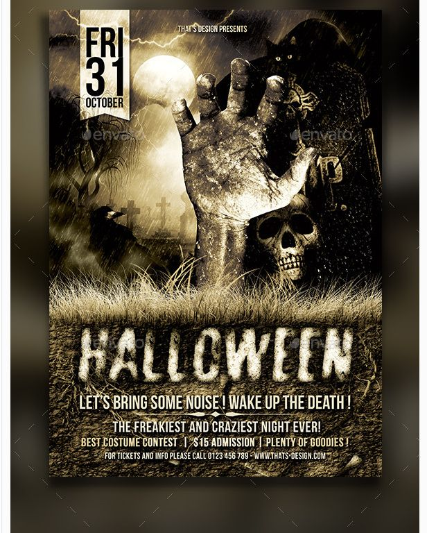 26 Best Halloween Party Flyer Template Images On Pinterest
