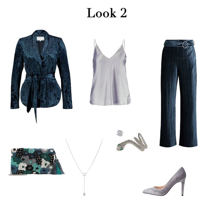 Lilac satin cami+dark blue pants+dark blue wrap blazer+lilac pumps+embroidered clutch+silver bracelet+silver earrings+silver necklace. Fall Wedding Guest Outfit 2017