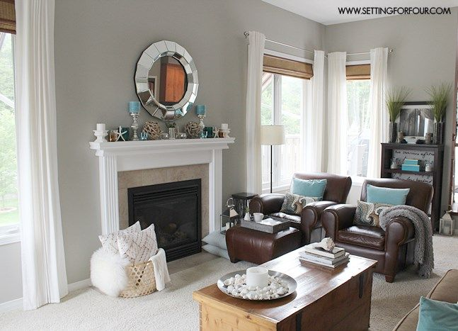 Mantel Decor Ideas Blue Taupe And White Palette Mindful GrayLiving Room MakeoversMantel