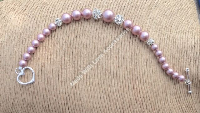 Pink Pearl Bracelet, Swarovski Pearl & Rhinestone Bracelet, Silver Bracelet,  Wedding Accessories, Bridesmaids Gifts by Makewithlovecrafts on Etsy