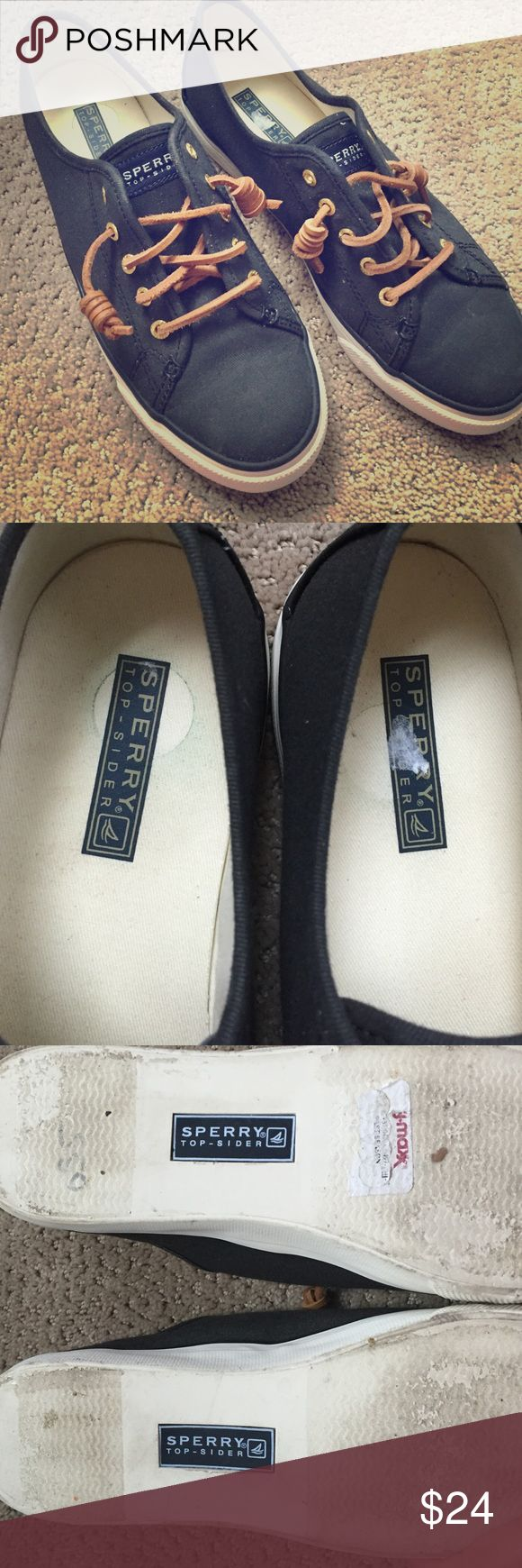 S 8 Black Sperry Top-Siders- worn once! Purchased these from TJ-Maxx after convincing myself they fit (I'm an 8 1/2...they didn't fit)! Wore for a couple hours, but in great condition. Bottoms have a some wear as indicated in the last pic but their condition is fab! Super comfy- especially if you're an 8!  Sperry Top-Sider Shoes