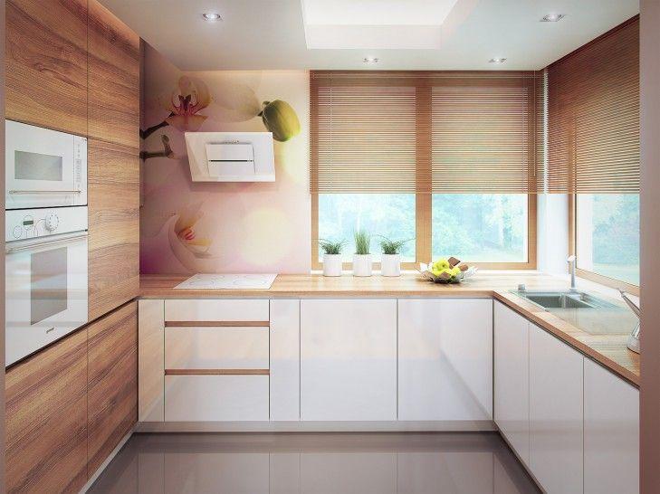 Aranżacja wnętrza przestronnej kuchni wykończonej drewnem - Tissu. Naturalne barwy zostały odświeżone dzięki kwiatowym nadrukom na szkle oraz gładkim, białym szafkom. http://www.tissu.com.pl/zdjecia/202
