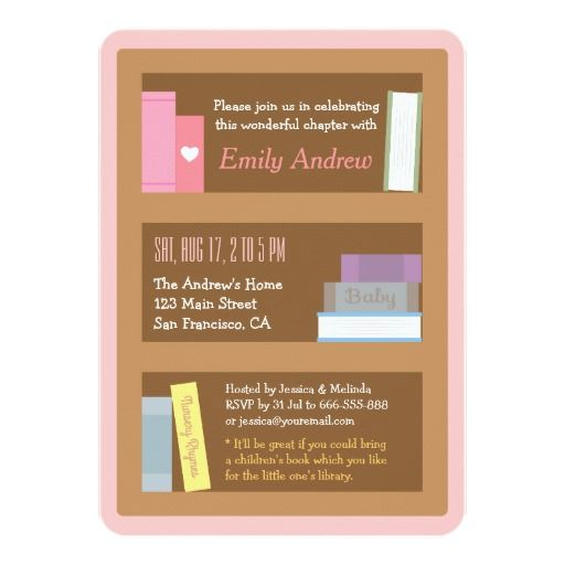 Elegant Book Themed Baby Shower Invitations