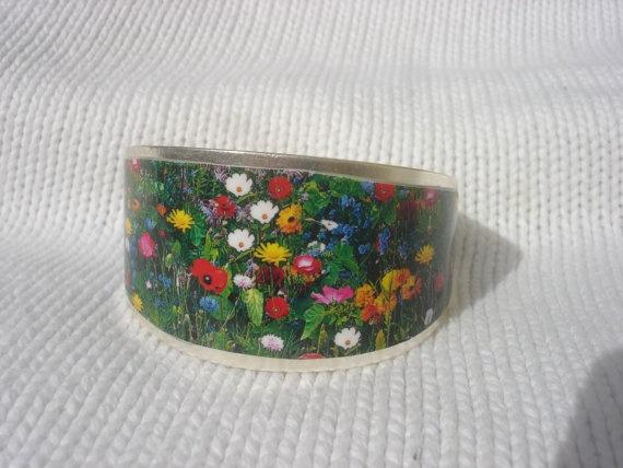 spring flowers bracelet cuff by andreachalari on Etsy, $16.00