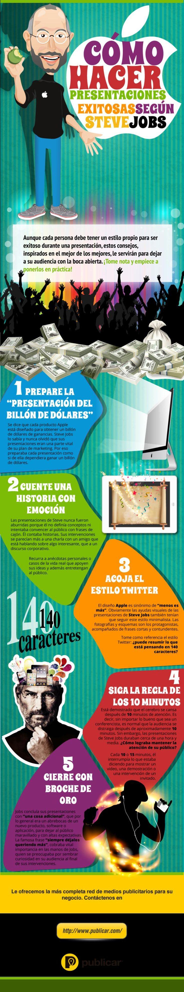 Una infografía en español con cinco consejos, inspirados en las enseñanzas que nos legó Steve Jobs, para crear presentaciones de éxito.