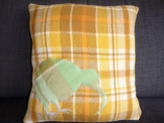 Wool Cushion Kiwi upcycled wool blanket by InTheBowerbirdsNest, $45.00