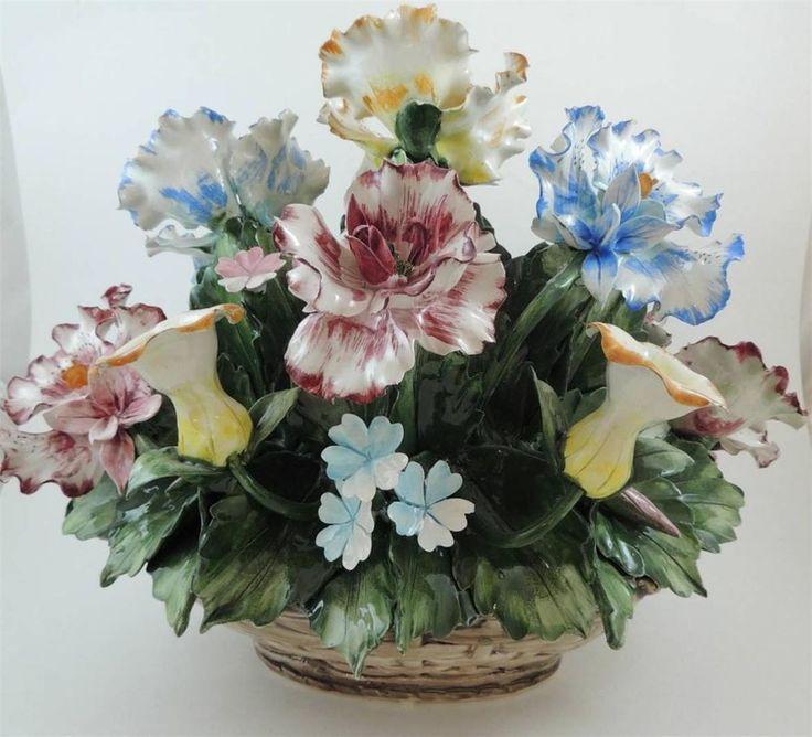 Vintage large capodimonte porcelain floral basket