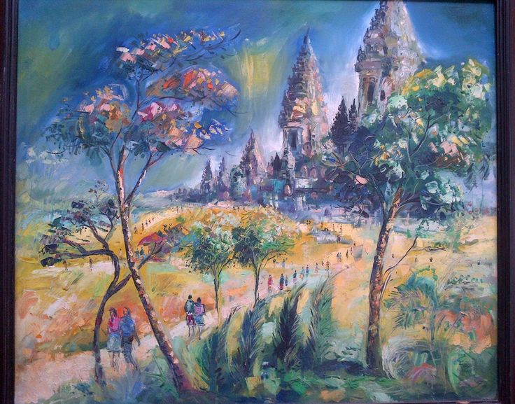 Candi Prambanan, oil on canvas, 85 x 100 cm