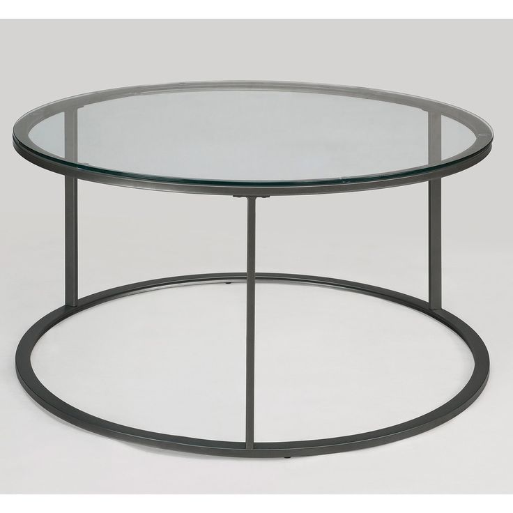 Round Glass Top Metal Coffee Table Clear Sofa End