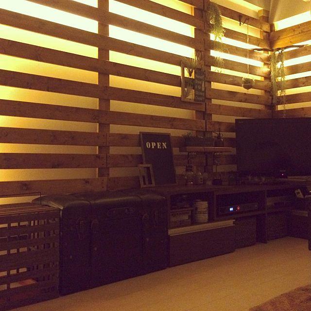 壁 天井 流木ディスプレイ 2 4材 Ledテープライト ディアウォール などのインテリア実例 2015 07 15 08 06 52