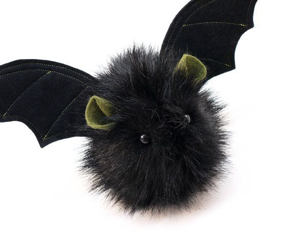 Fang the Vampire Bat Black Fluffy Halloween Plush Stuffed Animal Toy - 4x5 Inches Small Size on Etsy, $24.95