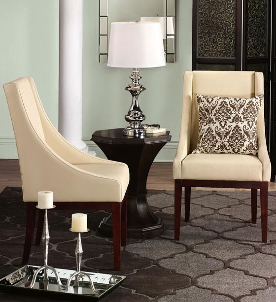Lenox leather side chairs modern style decor living - Modern upholstered living room chairs ...