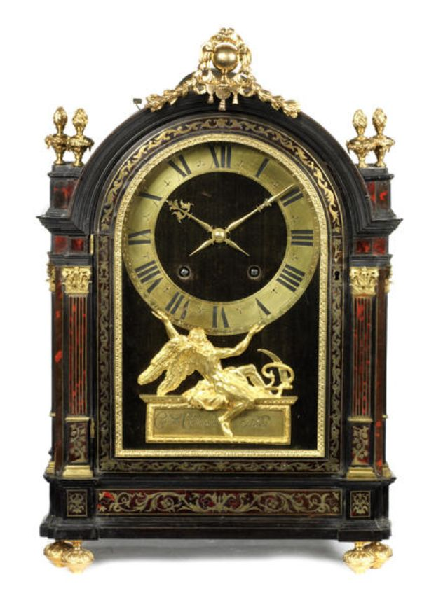 A French late 17th/early 18th century tortoiseshell and brass inlaid boulle marquetry religieuse clock Charles Champion, Paris