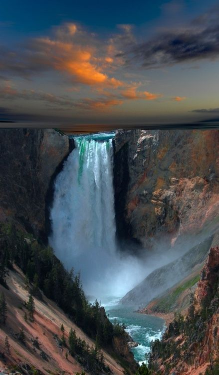Waterfall at Yellowstone National Park. Travel photography
