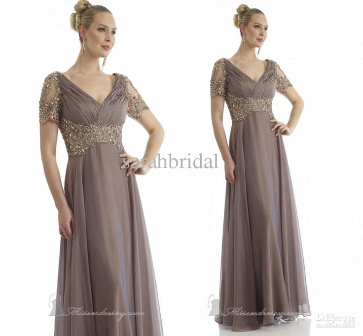 Wholesale Bridal Suits - Buy Plus Size 2014 Elegant Mother Of Bridal Suits Dresses Dress With Short Sleeves Chiffon Grey Champagne V Neck Ruffles Wedding Groom Gowns, $135.0 | DHgate