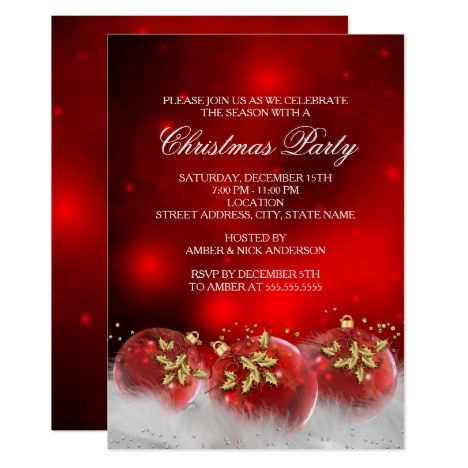 red gold holly baubles christmas party invite party invitations