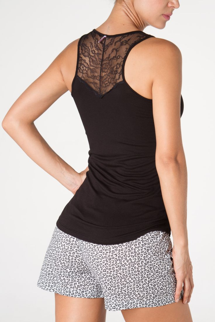 Tank top with lace back