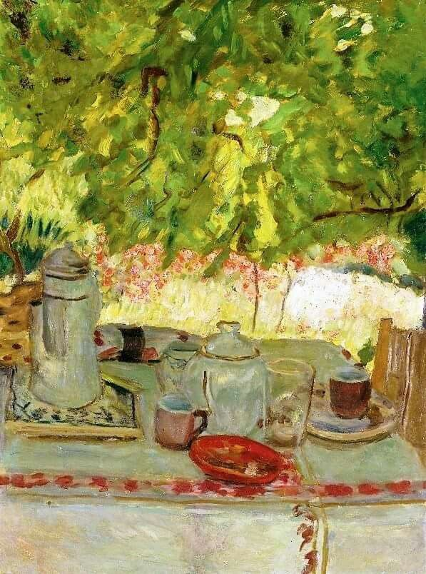 Pierre Bonnard - Petit déjeuner sous la tonnelle, 1908. Oil on board laid down on cradled panel, 25 1/8 x 19¼ in. (63.9 x 48.9 cm.).