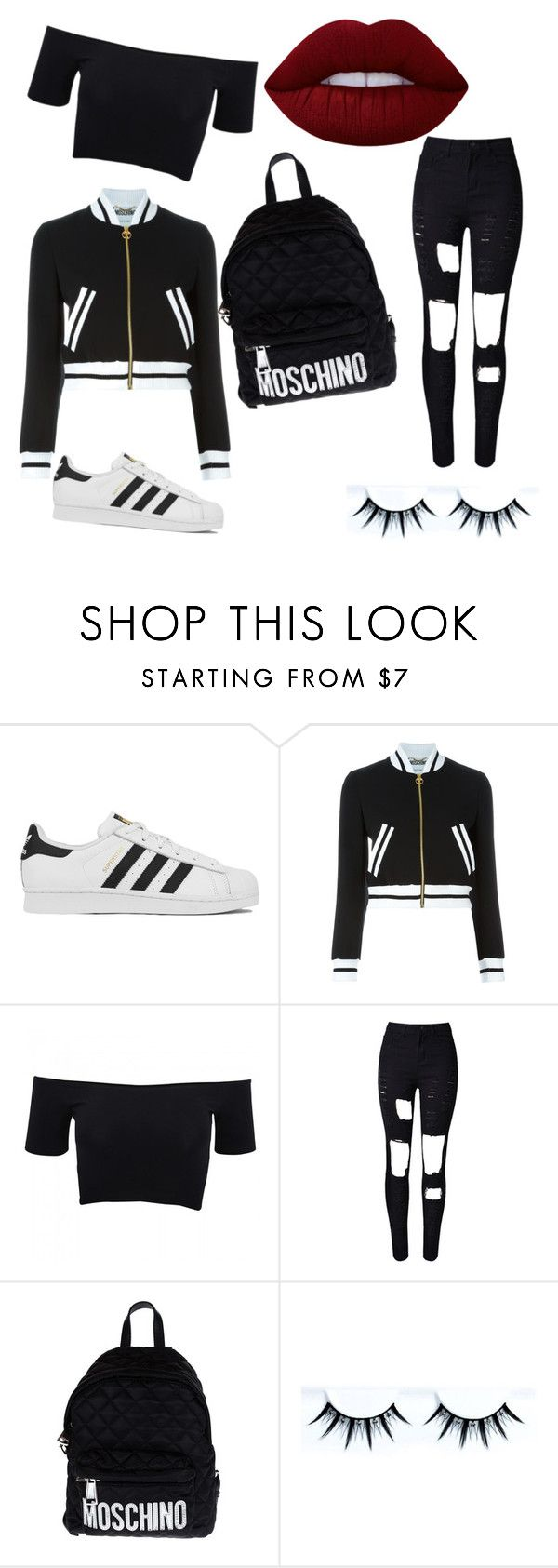 """Untitled #1"" by vanessa-johansson ❤ liked on Polyvore featuring adidas, Moschino, American Apparel and Lime Crime"