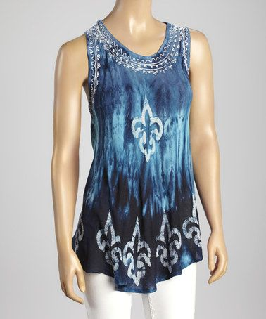Look at this #zulilyfind! Navy & Turquoise Tie-Dye Scoop Neck Tank #zulilyfinds