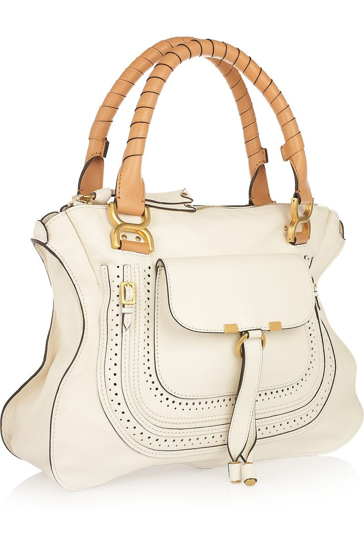 White leather apron lecture - Chloe Marcie Small Leather Tote