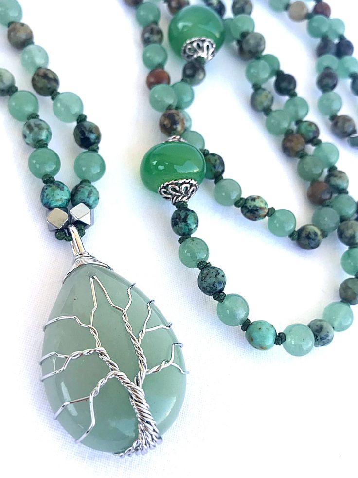 Tree of Life Mala Necklace, African Turquoise Green Aventurine necklace, Agate pendant mala, Yoga Gemstones mala, Spiritual mala, 108 Beads by Katiaicrafts on Etsy