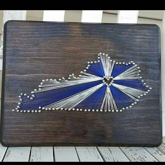 "State String Art featuring the University of Kentucky 8.5""x11"" Customize one for your favorite team!"