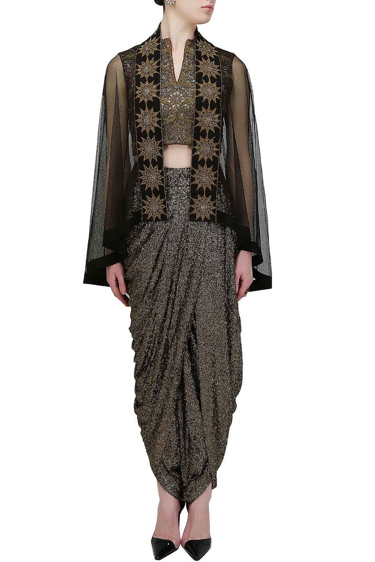 Gold sequins sheath dhoti pants with bird embroidered bustier and black…