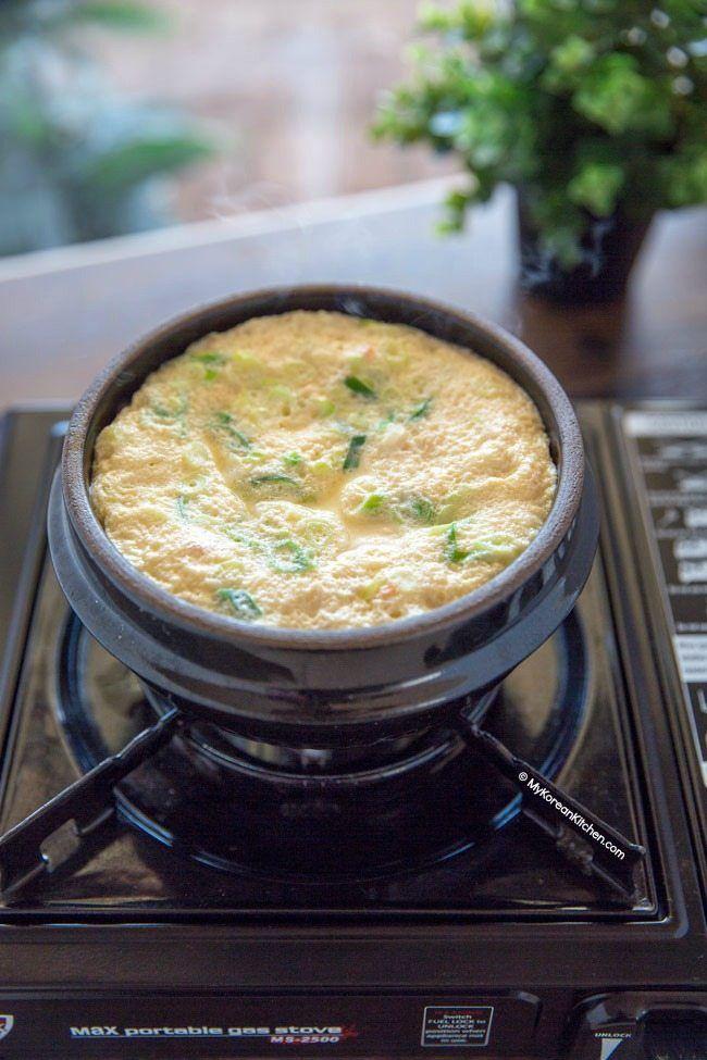 How to Make Korean Steamed Egg (Gyeran Jjim) in a Korean Hot Stone Bowl | MyKoreanKitchen.com