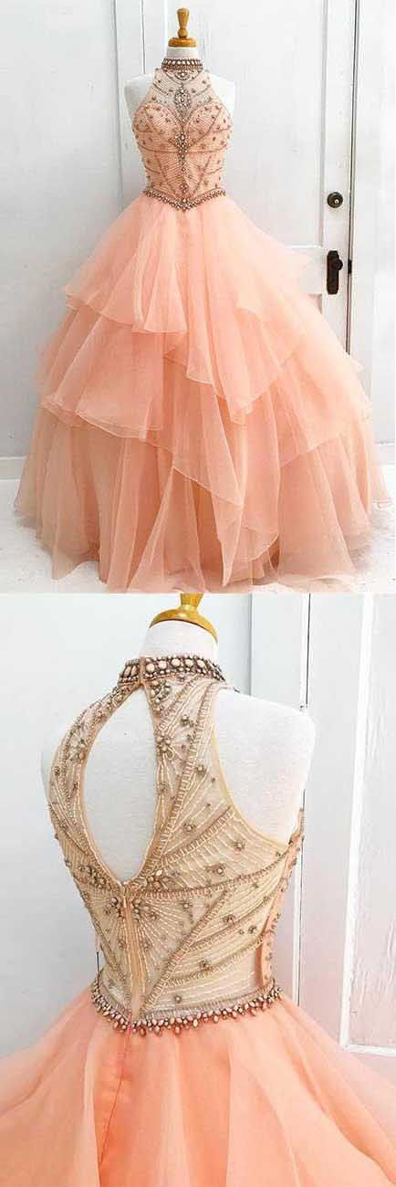 Charming High Neck Ruffle Beading Ball Gown Long Formal Prom Dress