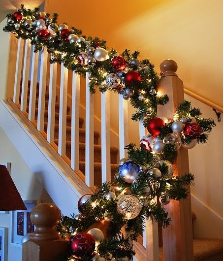 Banister Garland....OH WOW!! A new look for my Christmas banister!!